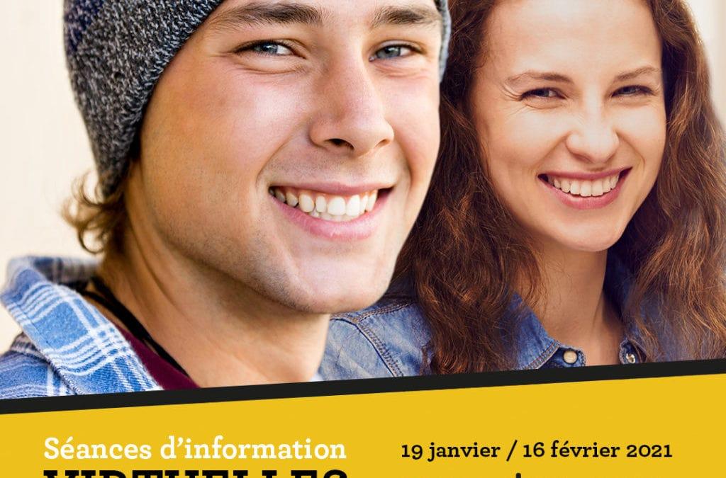Séances d'information virtuelles 19 janvier et 16 février 2021